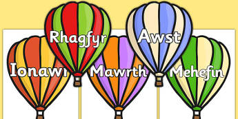 Months of the Year on Hot Air Balloons (stripes) Cymraeg - cymraeg,  months, year, hot air balloons