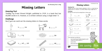 Missing Letters Activity Sheet - july amazing fact, KS1, amazing fact, literacy, letters, sounds, worksheet