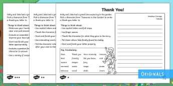 Treasures in the Garden Letter Writing Activity Sheets - writing, letter, layout, character, thank you, worksheets