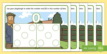 Farm Hungarian Number Pictures 0-10 Playdough Mats -  Early Years, EYFS, Foundation, Mathematics, Maths, Maths Mastery, Counting, Subitising, Hungarian N
