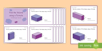 Find the Volume Using a Formula Challenge Cards - volume, cube, cubic, rectangular prism, length, width, height,