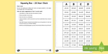 Squashy Box - 24hr Clock - Mental Maths Warm Up + Revision - Northern Ireland, mental maths, 24 hour clock, the clock, squashy