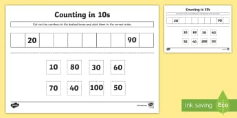 Counting in 10s Cut and Stick Worksheet - KS1 Skip Counting