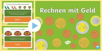 Rechnen mit Geld Aufgabenstellungen PowerPoint Präsentation - Euro, Cent, Geld, Rechnen, Übungen, Einkaufen