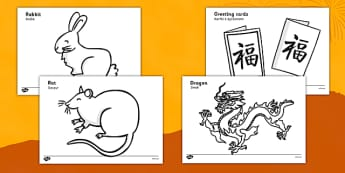 Chinese New Year A4 Colouring Posters Polish Translation - polish, chinese new year, a4, colouring, posters, display, colour