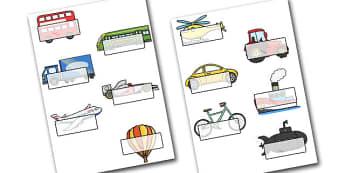 Editable Self-Registration Labels (Transport) - Self registration, register, transport, editable, labels, registration, child name label, printable labels