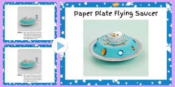 Paper Plate Flying Saucer Craft Instructions PowerPoint - space
