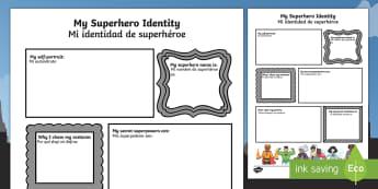 Superhero Transition Activity Sheet English/Spanish - Superhero Transition Writing Frame - superheroes, writing aid, Nursery Transition, reception transit