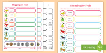 Shopping for Fruit Worksheet / Activity Sheet - NI KS1 Numeracy, coins, price, value, £1, worksheet, pence, currency