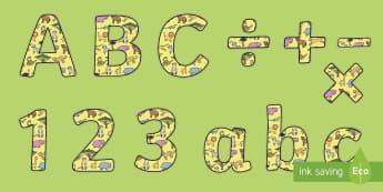 Lettres et symboles pour panneau d'affichage : L'Afrique - exposition, poster, affiche, animaux, safari, cycle 1, alphabet, nombres