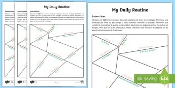 Puzzle différencié : Ma routine quotidienne - Anglais LV - Langues Vivantes, English, Daily, Routine, Quotidien, Quotidienne, Cycle 3,French