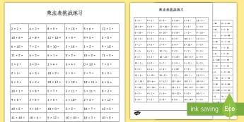 乘法表计算练习 - 乘法表,计算联系