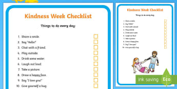 Kindness Week Children's Checklist - Twinkl Kindness Week, kindness week, twinkl kindness week, kind resources, acts of kindness