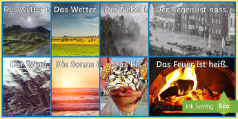 Weather and Temperature Adjectives  Display Photos German - Weather, Wetter, Display, German, Adjectives, Deutsch, MFL, DAZ, DAF