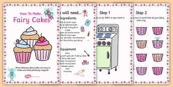 Recipe for Fairy Cakes - fairy cake, recipe, cards, recipe cards
