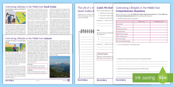 Contrasting Lifestyles in the Middle East Reading Comprehension Activity Pack - Middle East, GCSE command words, Lebanon, Saudi Arabia, Diary, Comprehension, oil, Farmer