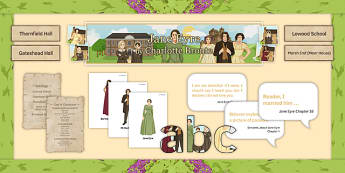 Jane Eyre Display Pack - English Literature, GCSE, AQA, EDUQAS, OCR, EDEXCEL, exam, heritage prose, Charlotte Bronte, Bronte Children, Mr Rochester