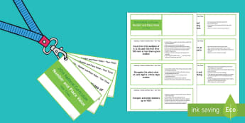 Lanyard Sized Number and Place Value Objectives Cards - Year 3, year three, maths, numeracy, place value, number, thousands, order numbers, compare numbers,