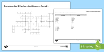 100 High Frequency Verbs 4 Crossword Spanish - Spanish Grammar, GCSE, Spanish verbs, 100, high frequency, crossword, translation