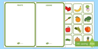 Fructe și legume Activitate de sortare - plante, viață sănătoasă, română, științe, lumea vie, alimentație sănătoasă,Romanian