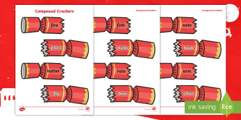 Christmas Cracker Compound Word Game - Suffixes, Year 1, Matching, Xmas, Spag, Compound Nouns