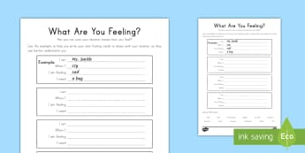 When I Am Feeling... Activity Sheet - Grieving Through Tragedy, emotions, feelings, expression, worksheet, feelings, calming down, When I