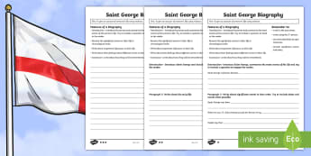 KS2 St. George's Day: Saint George Biography Writing Frame Differentiated Activity Sheets - KS2 Saint George's Day (23rd April 2017), English, writing activity, writing frame, biography