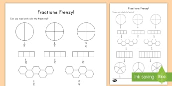 Fractions Frenzy Read and Color Activity Sheet - math, fractions, color, art, read and color, coloring worksheet