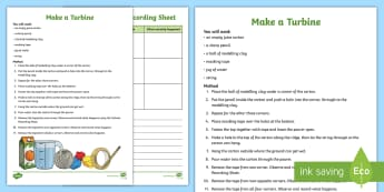 Make a Turbine Activity - wind power, renewable energy, Newton's theory, action and reaction, wind power