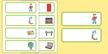 Flat Boy Editable Drawer Peg Name Labels - flat boy, flat stanley, jeff brown, drawer, peg, name, labels, display