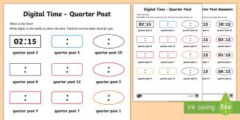 Digital Time – Quarter Past Activity Sheet - NI KS1 Numeracy, digital, time, clock, quarter past, home learning, worksheet