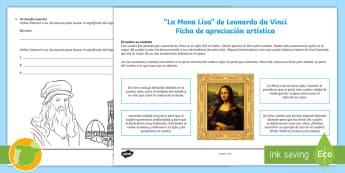 Ficha de apreciación artística: La Mona Lisa - Leonardo Da Vinci - Cuadro, renacimiento, pintura, sfumato, siglo XIV, siglo dieciséis