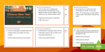 LKS2 Chinese New Year Fraction Challenge Cards - Chinese New Year, year 3, year 4, lower key stage 2, LKS2, challenge cards, maths challenge cards, f