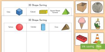 3D Shape Sorting Activity - geometry, math, shapes, 3D, cut, sort