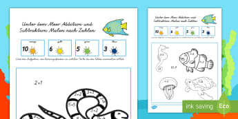 Unter dem Meer Addition und Subtraktion Malen nach Zahlen - Meer, Ozean, Tiere im Meer, ausmalen, einmalen, Anmalbild, addieren, subtrahieren,German