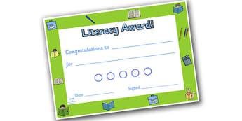 Literacy Themed Sticker Reward Certificate 15mm - literacy reward certificate, literacy certificate, literacy sticker certificate, sticker certificate