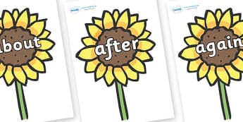 KS1 Keywords on Sunflowers - KS1, CLL, Communication language and literacy, Display, Key words, high frequency words, foundation stage literacy, DfES Letters and Sounds, Letters and Sounds, spelling