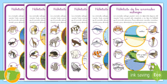 Hoja informativa: Hábitats de los animales salvajes - animales, salvajes, hábitats, dónde viven, clasificación ,Spanish