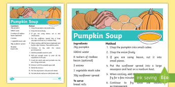 Pumpkin Soup Recipe Sheets - recipe, pumpkin, thanksgiving, recipe card, soup recipe, recipe sheets, display poster, recipe information, recipe thanksgiving, halloween, soup