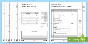 AQA Physics (Trilogy) Unit 4.4 Atomic Structure Test - KS4 Assessment, Test, Atomic Structure, Proton, Neutron, Electron, Atom, Ion, Atomic Mass, Atomic Nu