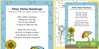 Pitter Patter Raindrops Rhyme - rainy day, song, rhyme, pitter patter, weather