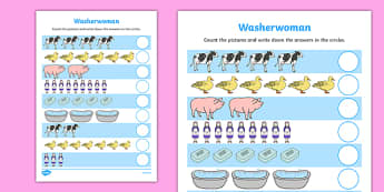 Washerwoman Counting Sheet - mrs wishy washy, washerwoman, counting