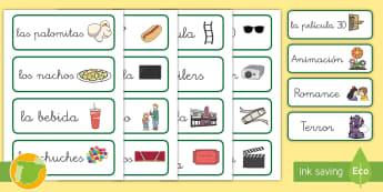 Tarjetas de vocabulario: El cine - pantalla, palomitas, asientos, animación, acción, romance, aventura, comedia, rollo de película,