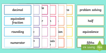 LKS2 Fractions Key Word Cards - maths vocab, maths vocabulary, maths key words, mathematical words, fraction topic words, maths topi