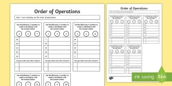 Order of Operations BODMAS BIDMAS Worksheet / Activity Sheet - order, operations, bodmas, bidmas, activity, worksheet