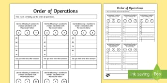 Order of Operations BODMAS BIDMAS Activity Sheet - order, operations, bodmas, bidmas, activity, worksheet