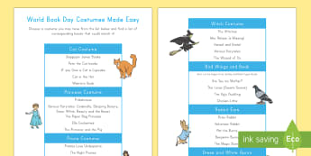World Book Day Costumes Made Easy Book List - World Book Day, reading, costume, cat, witch, bird, princess, pirate, story, dress up