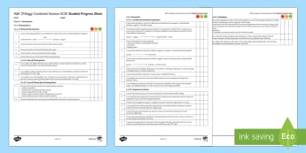 AQA Trilogy Unit 4.4 Bioenergetics Student Progress Sheets - Student Progress Sheets, AQA, RAG sheet, Unit 4.4 Bioenergetics