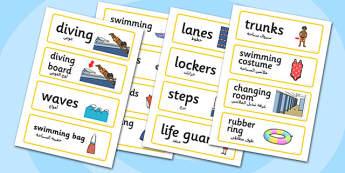 Swimming Pool Word Cards Arabic Translation - arabic, swimming