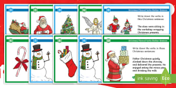 Christmas-Themed Verbs Blether Stations - Figures of Speech, Christmas literacy, VCOP, Big Writing, Doing words